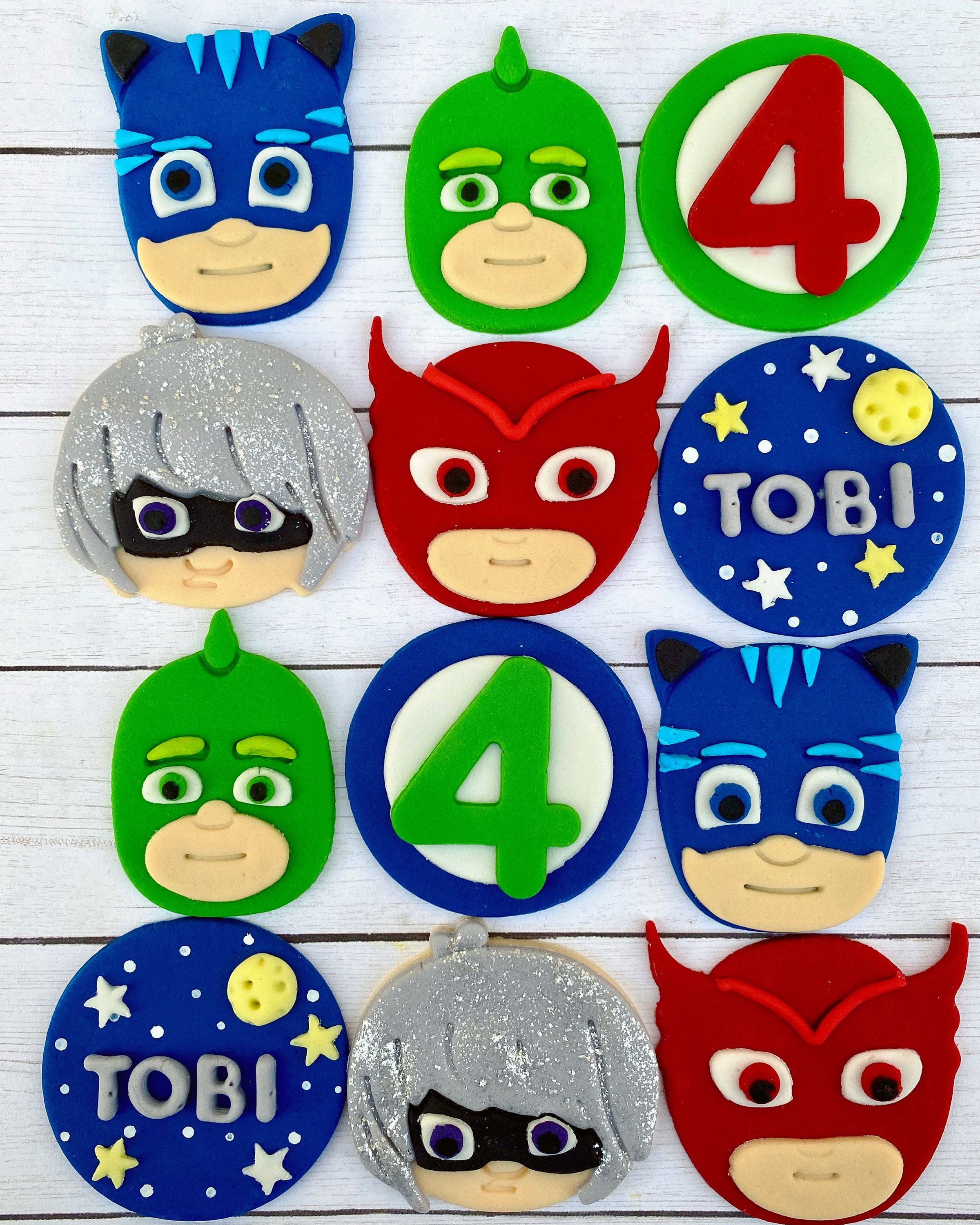 Edible fondant pj mask themed cupcake treat toppers in