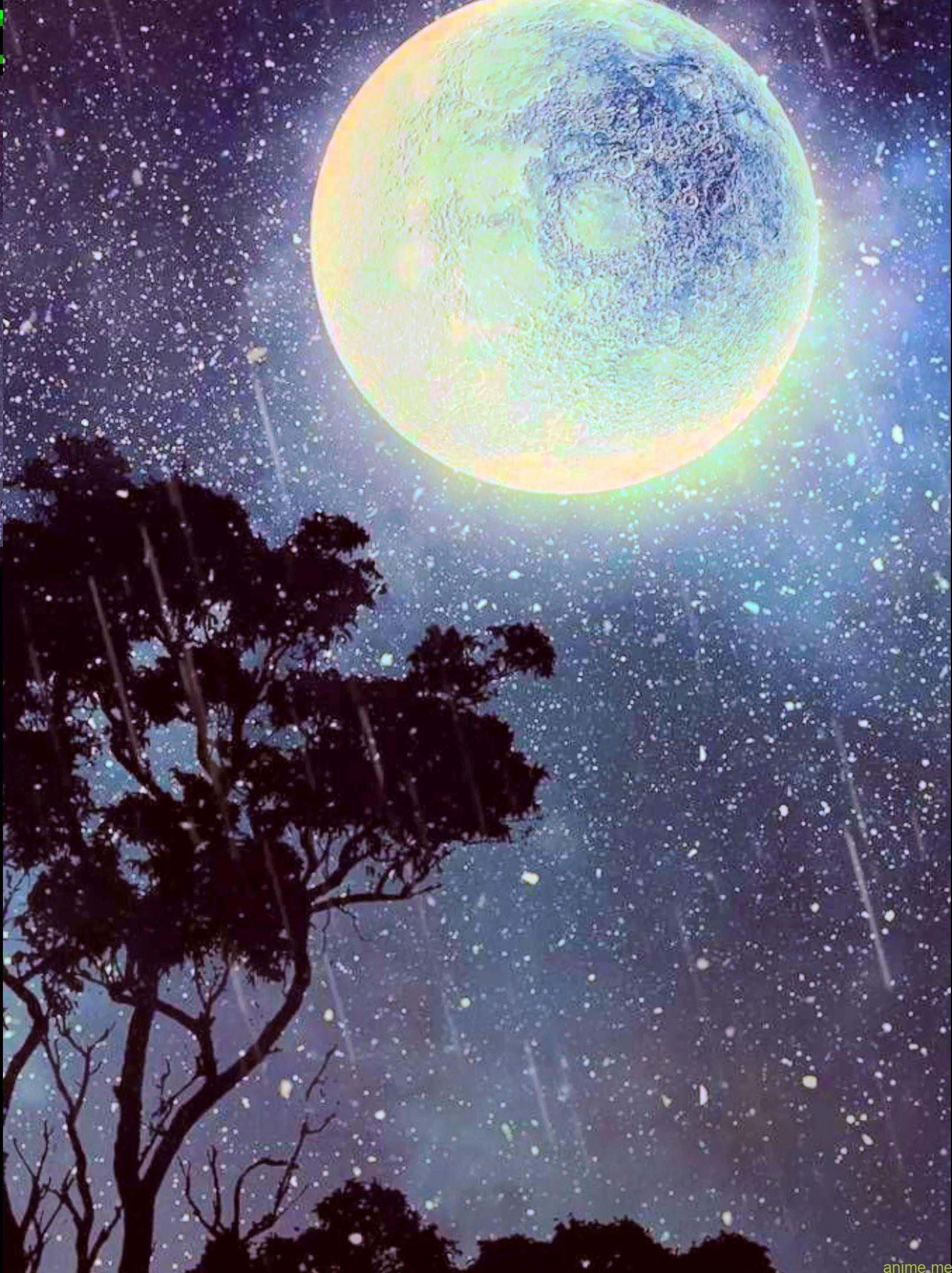 Night time moon rain reside wallpaper