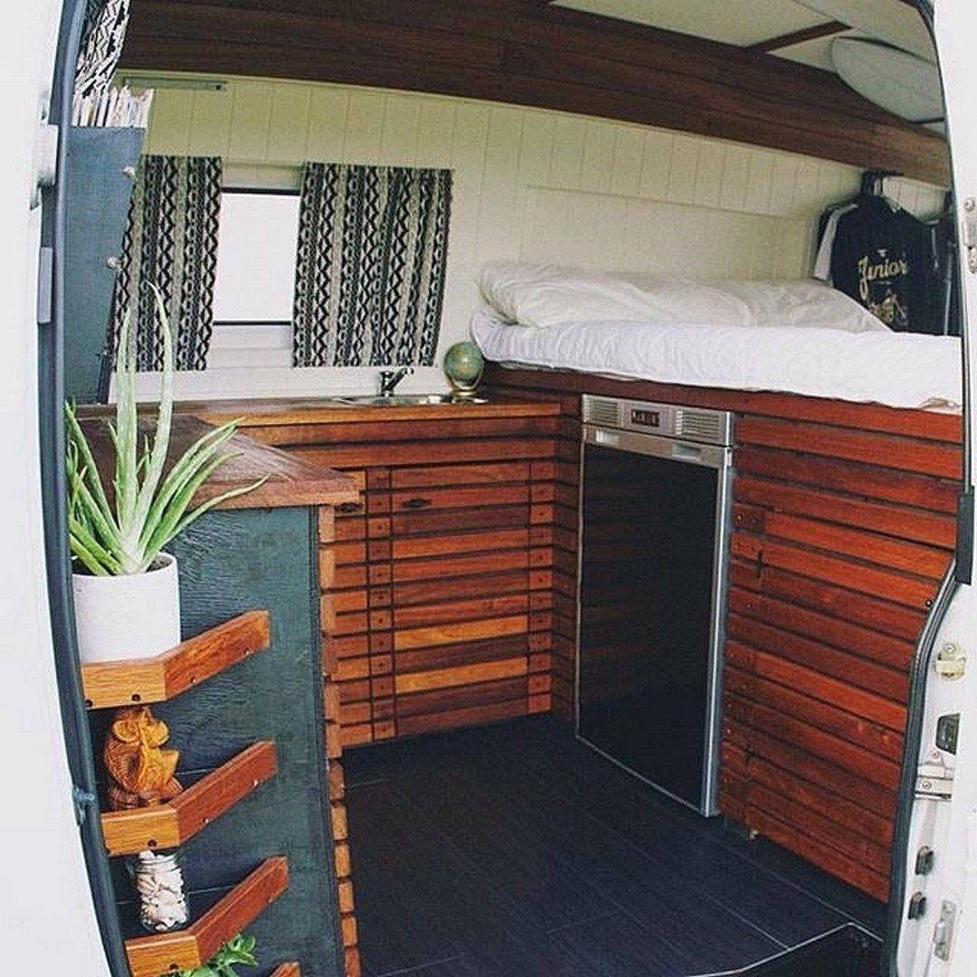 Indoor Outdoor Kitchen Setup On Door Of A Campervan
