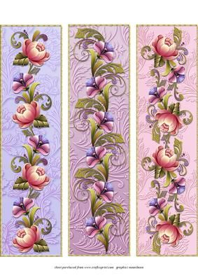 Floral Bookmarks 2 on Craftsuprint designed by Chris Harland - A set of floral bookmarks - Now available for download!