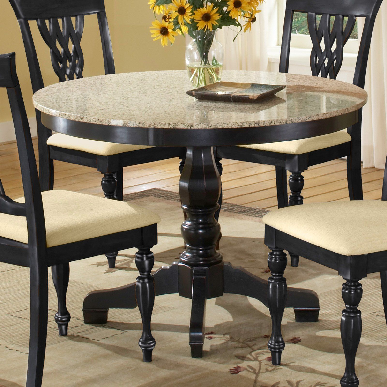 Have To Have It Embassy Round Pedestal Table With 42 Inch Granite Top Black Hayneedle Granite Dining Table Dining Table Marble Round Dining Room Sets