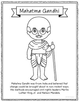 Mahatma Gandhi Coloring Page Craft or Poster with Mini Biography ...