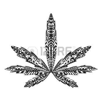 Dessin tribal stylis feuille de marijuana isol main tir doodle ethnique illustration de - Coloriage feuille de cannabis ...