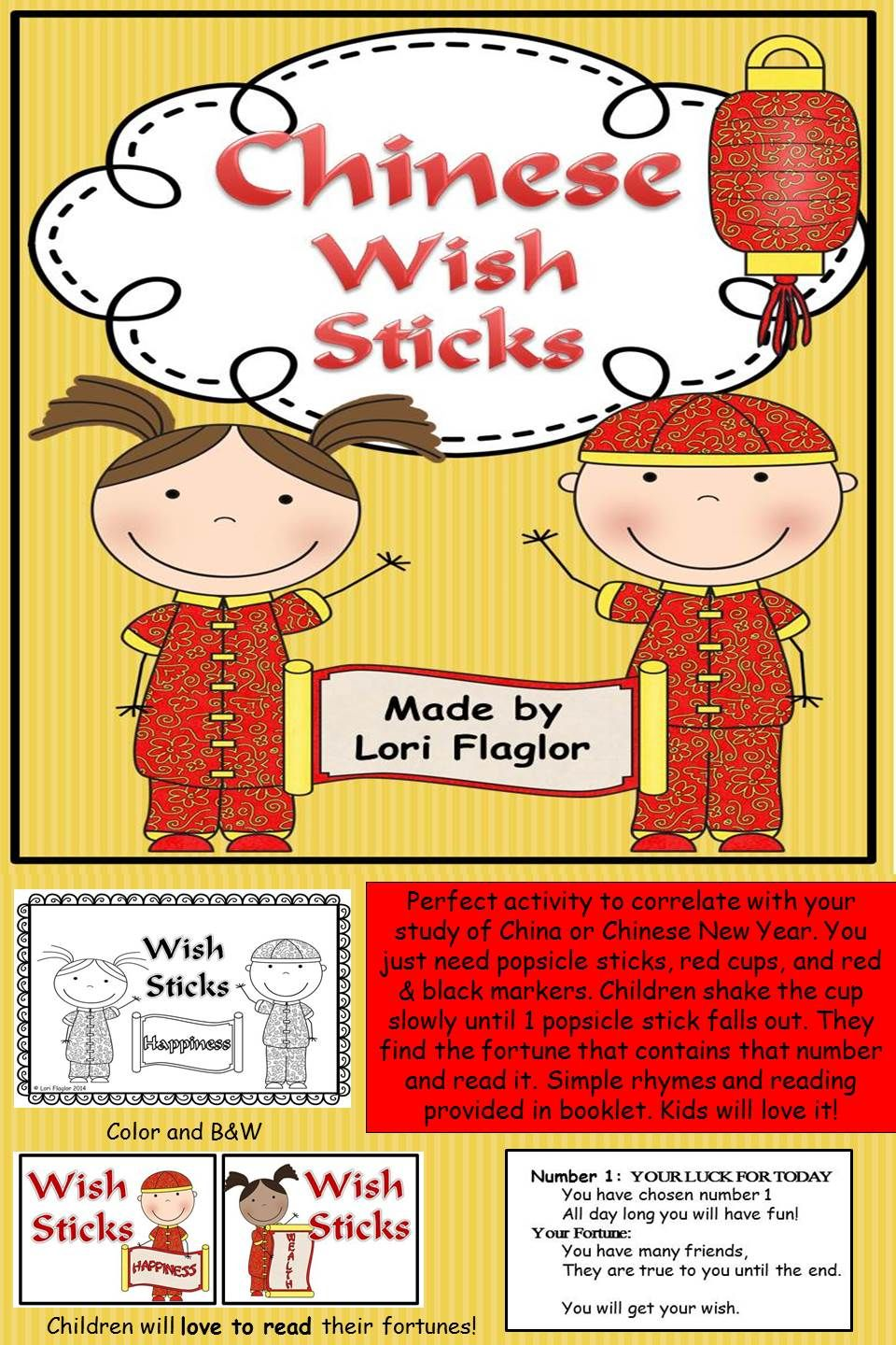 chinese wish sticks my tpt products chinese new year activities chinese holidays chinese. Black Bedroom Furniture Sets. Home Design Ideas