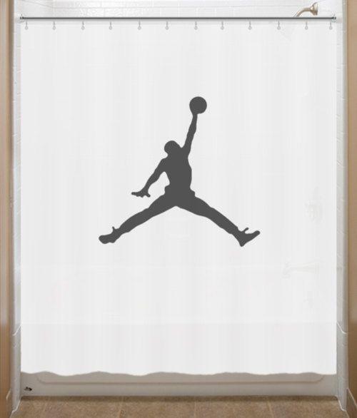 Basketball Shower Curtain Air Jordan Jumpman Bathroom Decor Etsy
