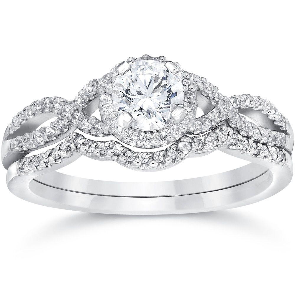 Princess cut Diamond Engagement Ring 3pc Wedding Band Set