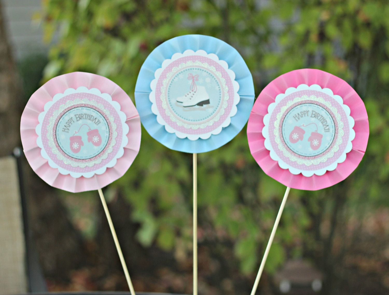 Girl Winter / Ice Skating Birthday Centerpieces.  Set of 3.  Pink, blue, white party decoration.  Any Age. by CharmingTouchParties on Etsy