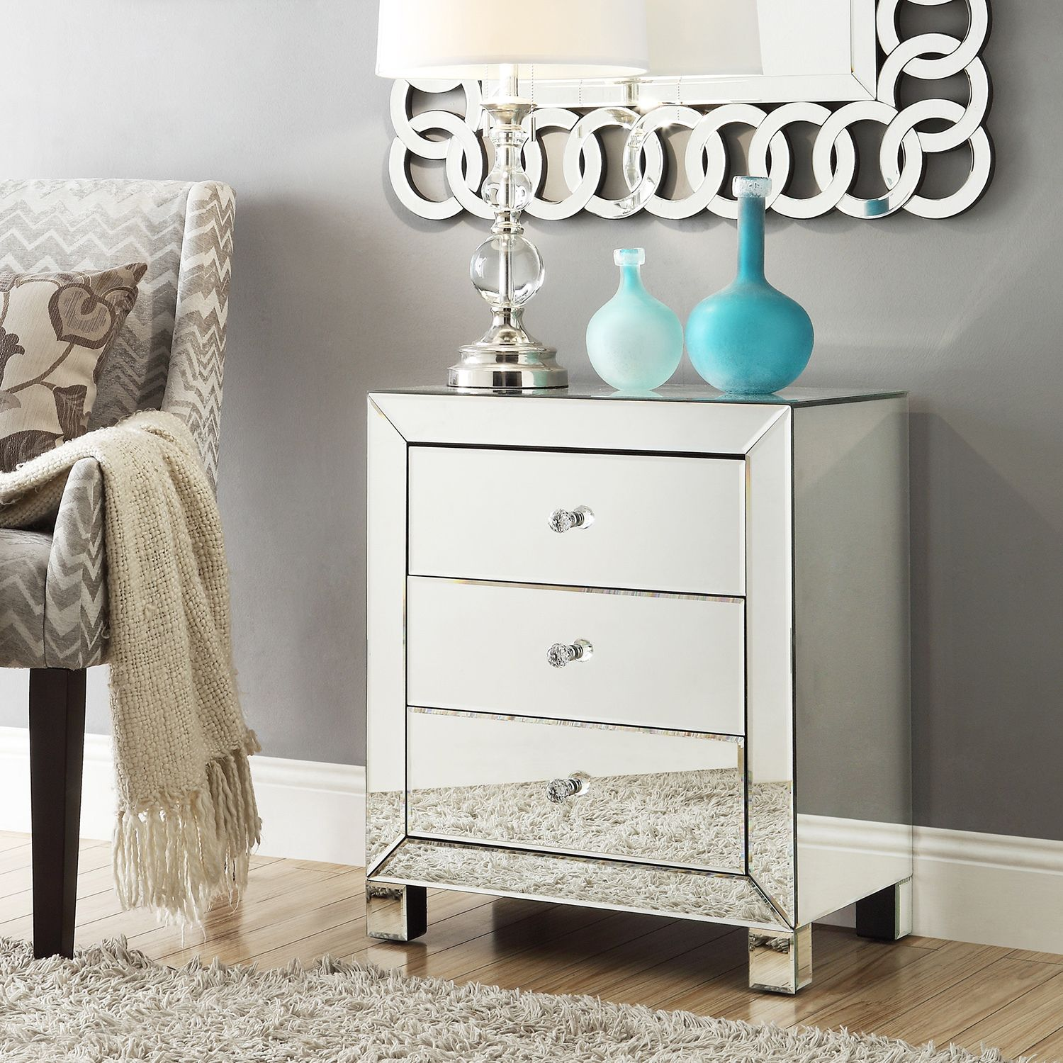 Esmond Mirrored 3-drawer Accent Table by iNSPIRE Q Bold by iNSPIRE Q