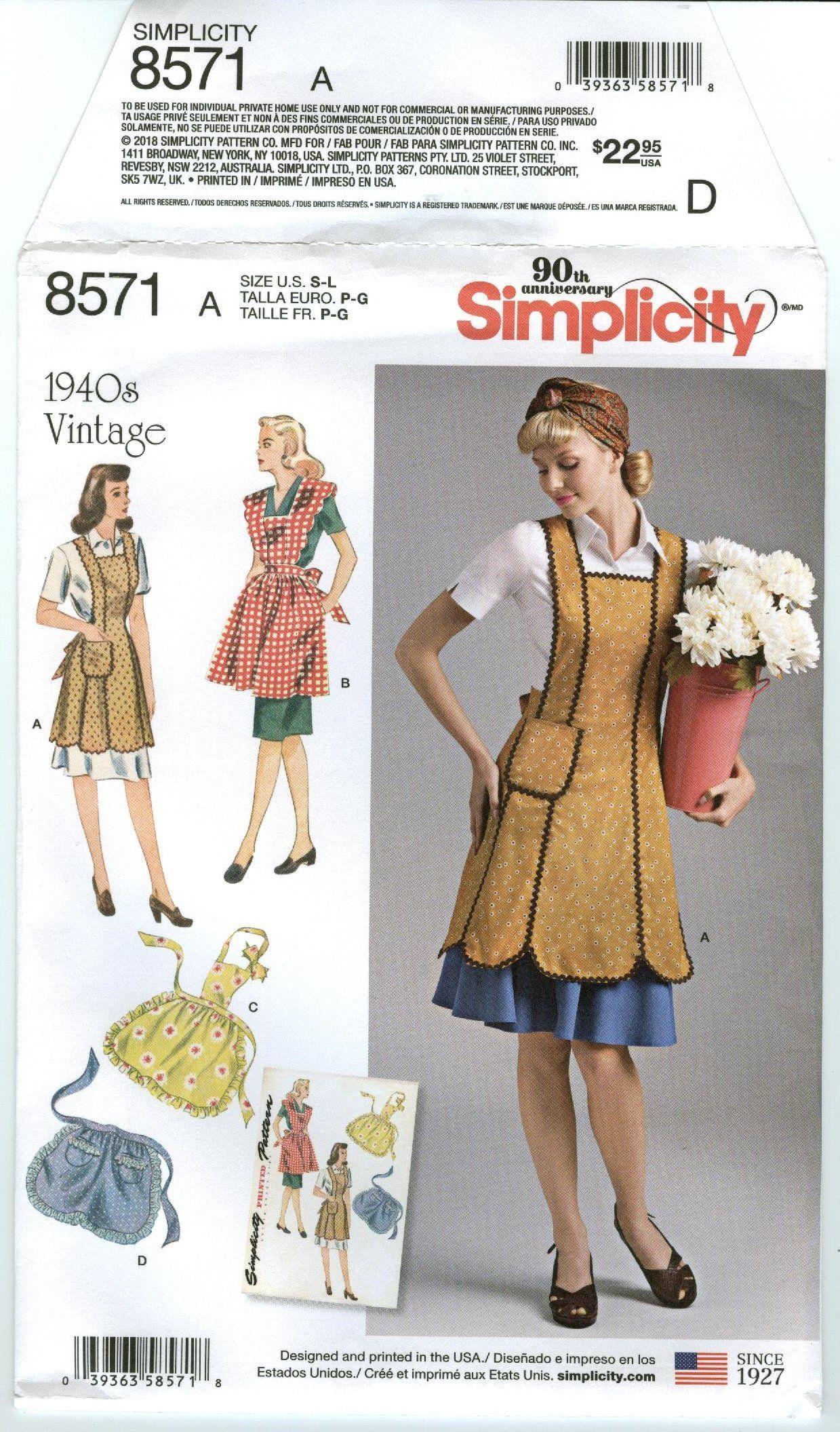 *NEW APRONS Simplicity Retro Sewing Pattern S-M-L UNCUT