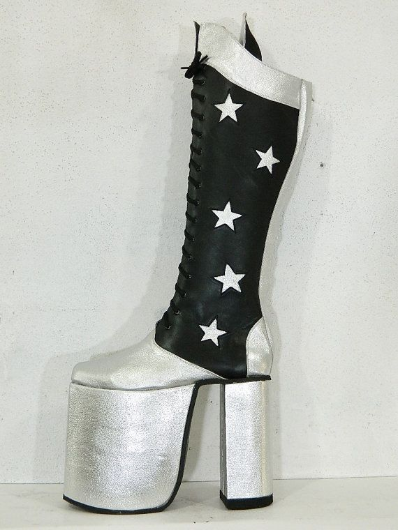 2a587123af85 Men Kiss Platform genuine silver and black leather boots 80s 70s Rocker