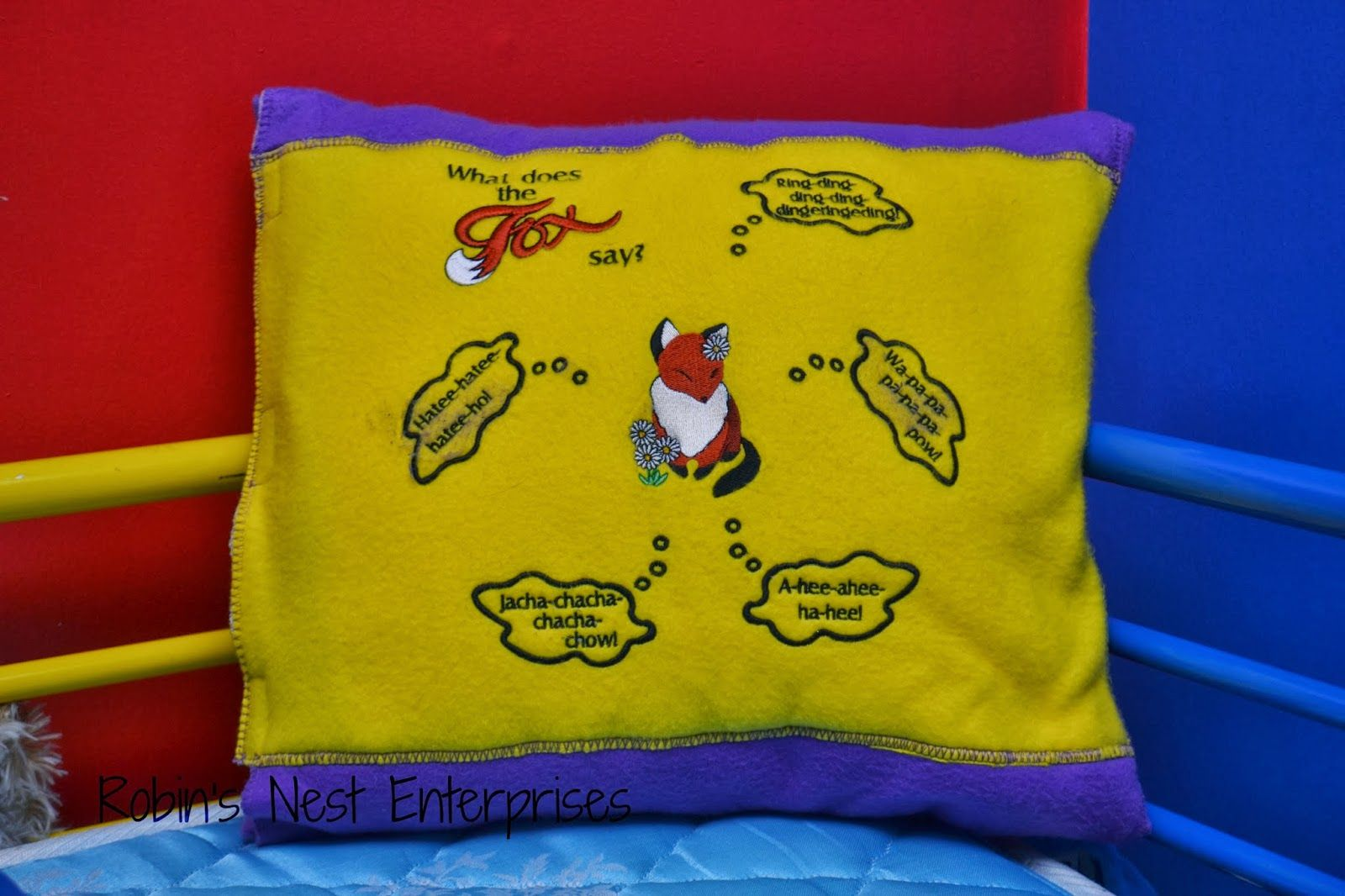pillow embroidery: What Does the Fox Say?