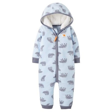 3d408a384 Baby Boys  Fleece Hooded Blue Bears Jumpsuit Just One You™ Made by ...