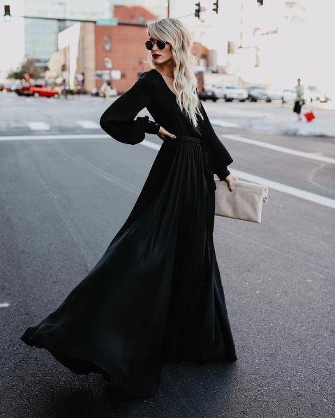 Opulent Long Sleeve Diana Maxi Dress Black Long Sleeve Black Gown Black Maxi Dress Long Sleeve Bridesmaid Dress