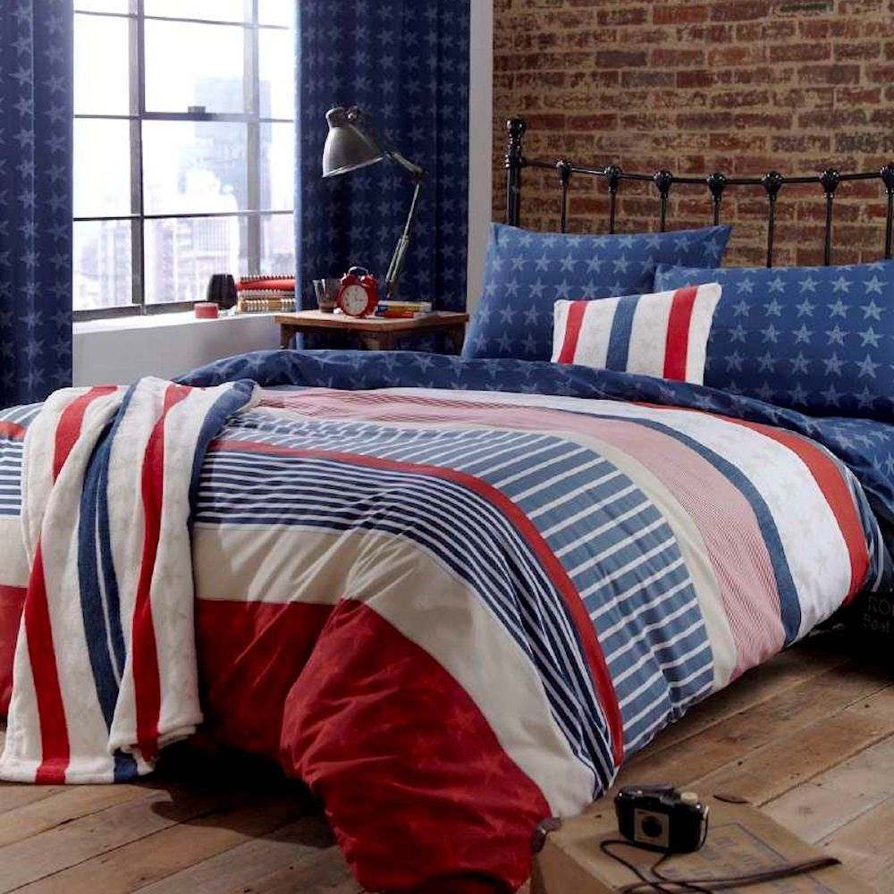 Copripiumino Stile Marinaro.Catherine Lansfield Stars And Stripes Double Bed Quiltset Multi