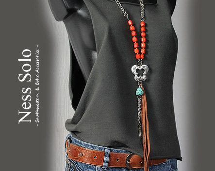 Long+orange+coral+necklace+with+turquoise+pendant+and+by+NessSolo