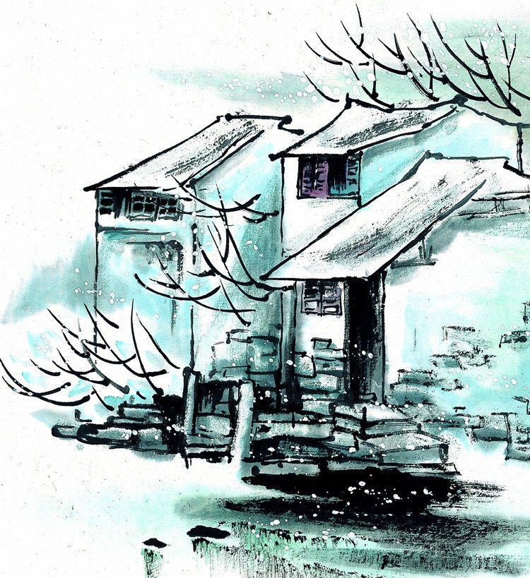 江南水墨之冬绘画艺术作品(三)