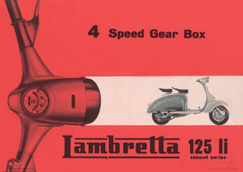 Lambretta Scooter (Li 4 Speed Gear Box) Vintage Style Poster ...