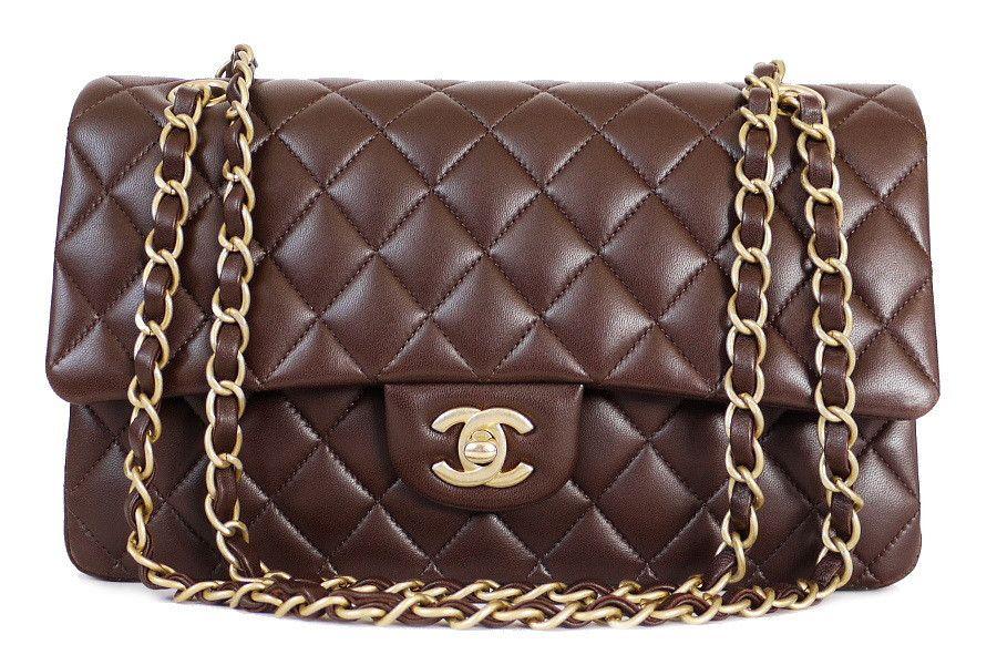 Chanel 2 55 Double Flap Classic Shoulder Bag Marron Fonce Shoulder Bag Chanel Flap Bag Bags
