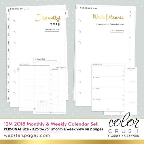 Dated 2018 Calendar Refill PERSONAL PLANNER Websters Pages