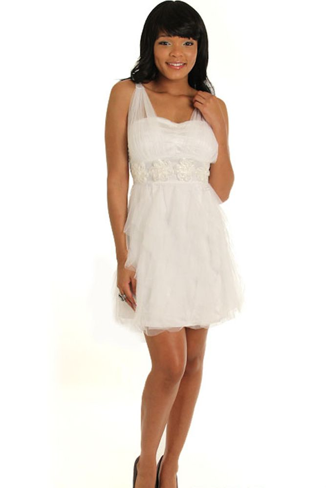 White Ethereal Romantic Satin and Tulle Rosette Bridesmaid Dress ...