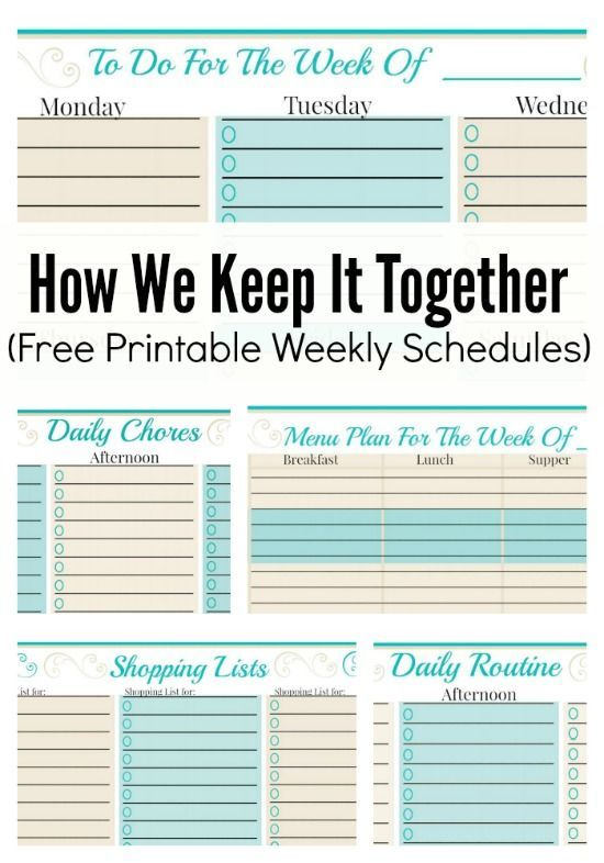 How We Keep It Together And Free Weekly Planner Templates