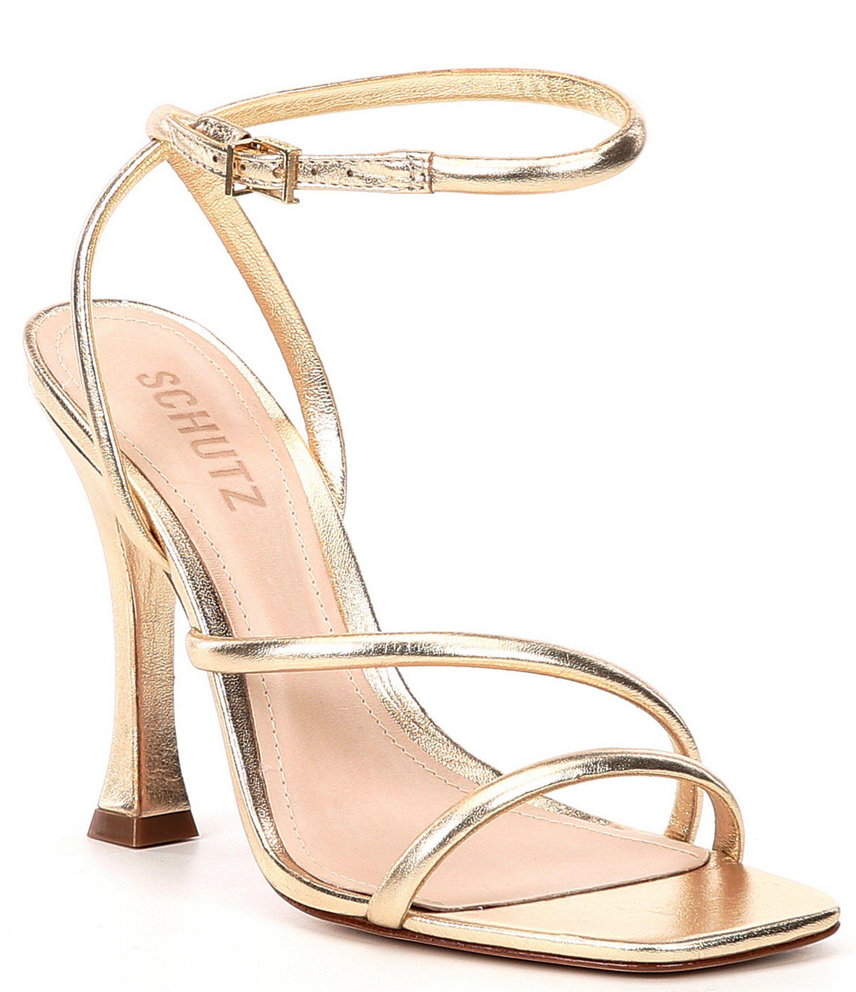 Schutz Polaina Square Toe Metallic Leather Dress Sandals - 7.5M