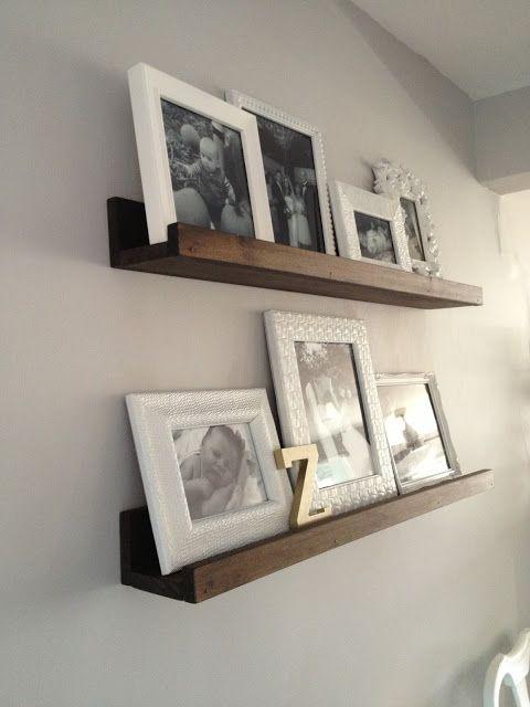 20 Diy Wood Shelves All White Frames Black Photos