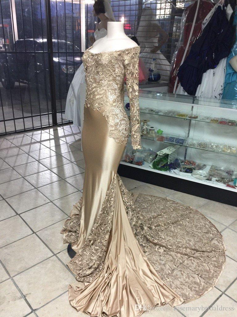 Black girl long sleeve evening dresses dubai mermaid lace sexy long