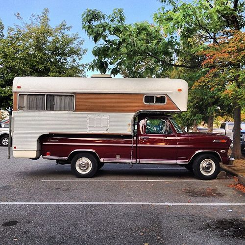 Old Ford Ranger Truck With A Vintage Chinook Camper Mint