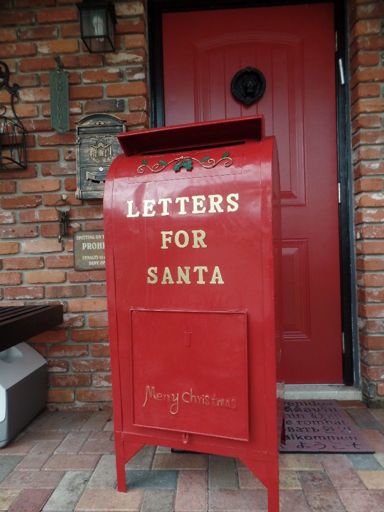 Letters For To Santa Mailbox Christmas Decoration Metal Red Decor