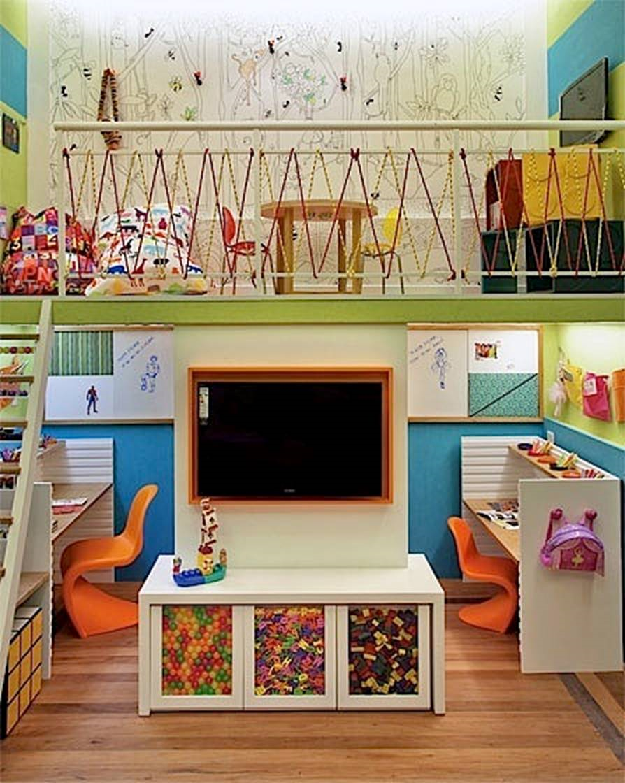 Split Level Play Space Kids Playroom Room Setup Playroom #play #area #in #living #room #ideas
