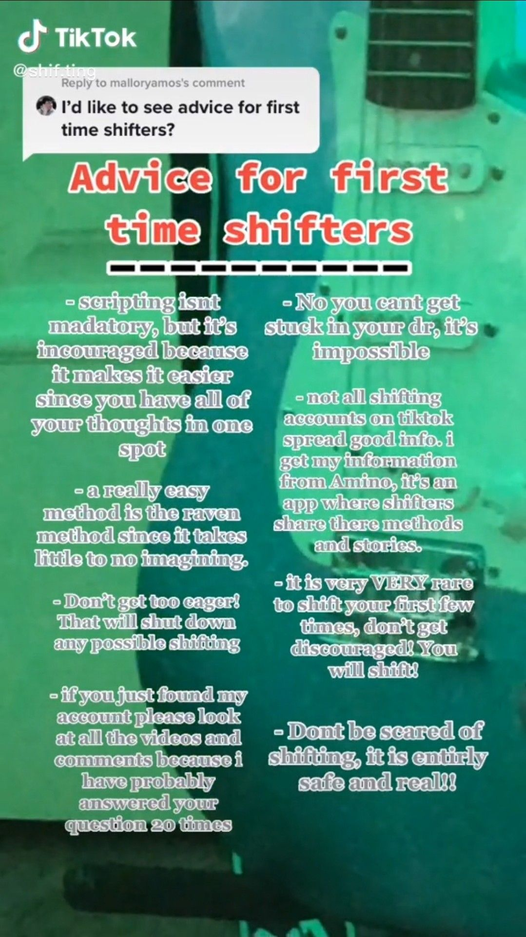 Advice For First Time Shifters In 2021 Scripting Ideas Create Reality Reality Check