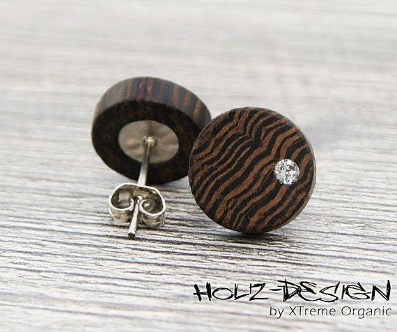 Ohrstecker Holz Fake Plugs Mit Swarovski R Von Xtremeorganic 11 50 Wooden Ear Studs Wooden Fake Gauge Plugs Wood Jewelery Diy Earrings Studs Wooden Jewelry