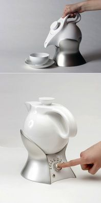 A porcelain teapot is put in its associated holding device where it can be swayed forward well, directed so that the tea can be easily poured into a cup without having to lift the teapot. Furthermore the holding device is able to boil up the liquid in the teapot and to keep it warm precisely on different temperatures.  Designer: Lotte Alpert  http://www.yankodesign.com/2007/06/01/the-lazy-teapot-by-lotte-alpert/