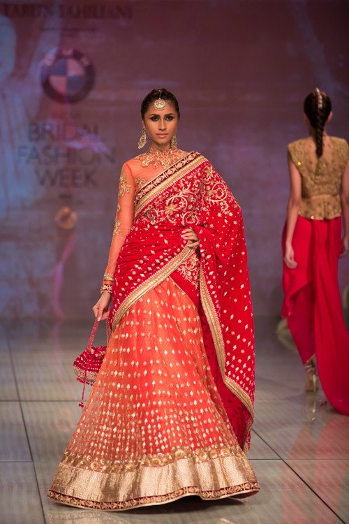 Red designer lahenga http://www.wishcraft.in | Designer bridal ...