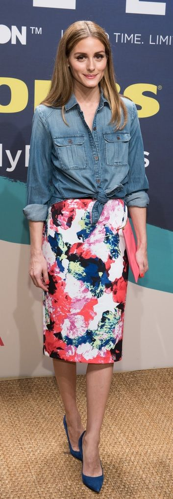 How to wear a midiskirt like Olivia Palermo: Try a floral midi skirt by Milly For DesigNation with a tied-front denim shirt.