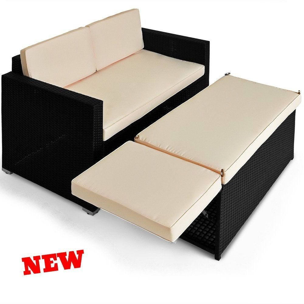 Rattan Sofa Lounger Day Bed Outdoor Patio Ottoman Storage ...
