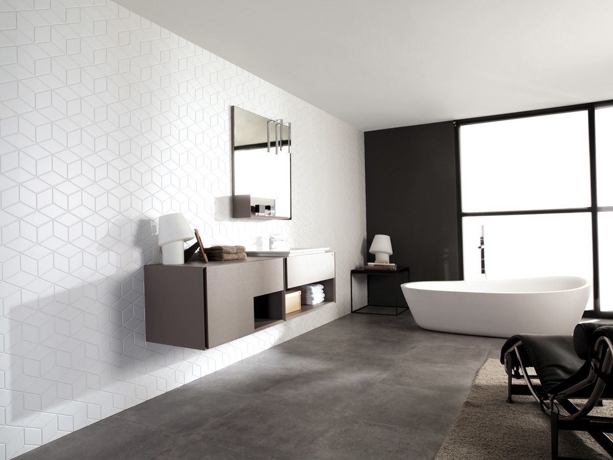 Porcelanosa grupo ceramic tiles cube white 33 3x100 for Porcelanosa bathroom designs