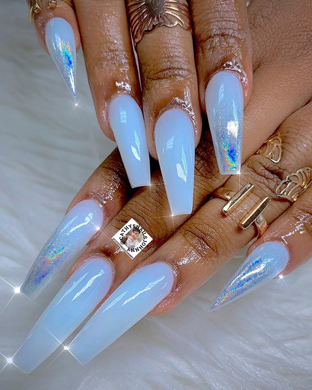 Dm Us To Purchase This Custom Color Acrylic Water Nut Limited Tag Someone Who Loves Nut Bluenails Happy F Holographic Nails Nails Coffin Nails Designs