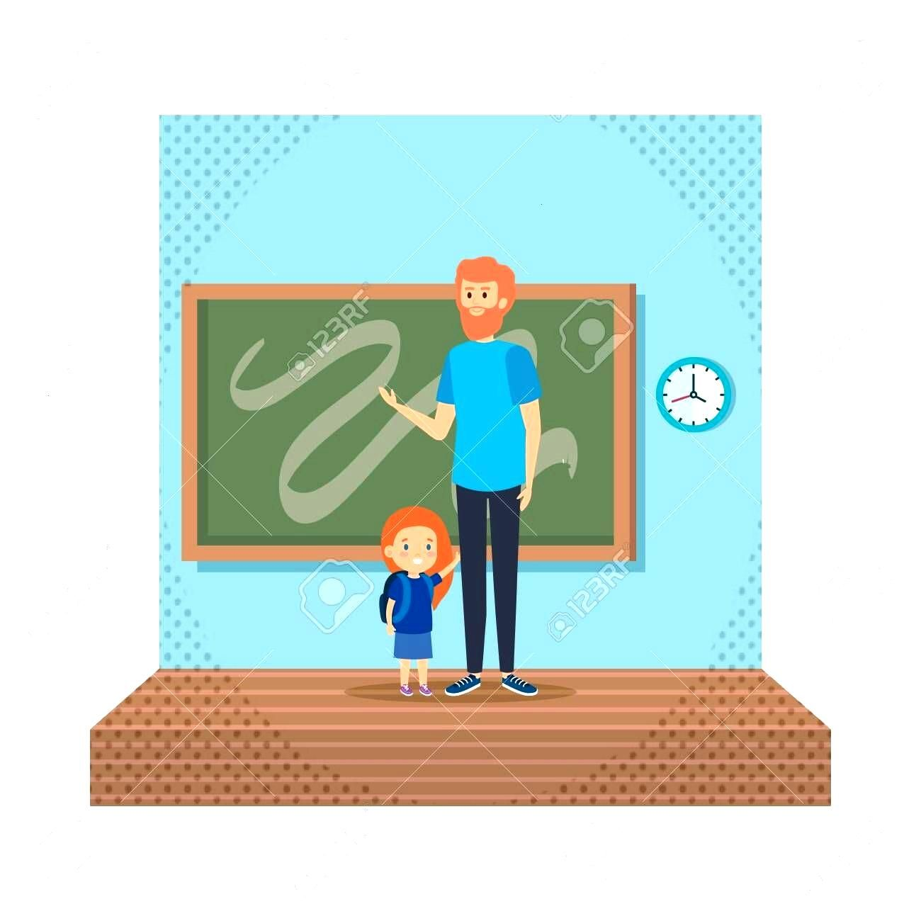 teacher male with schoolgirl in classroom vector illustration design Illustration ,