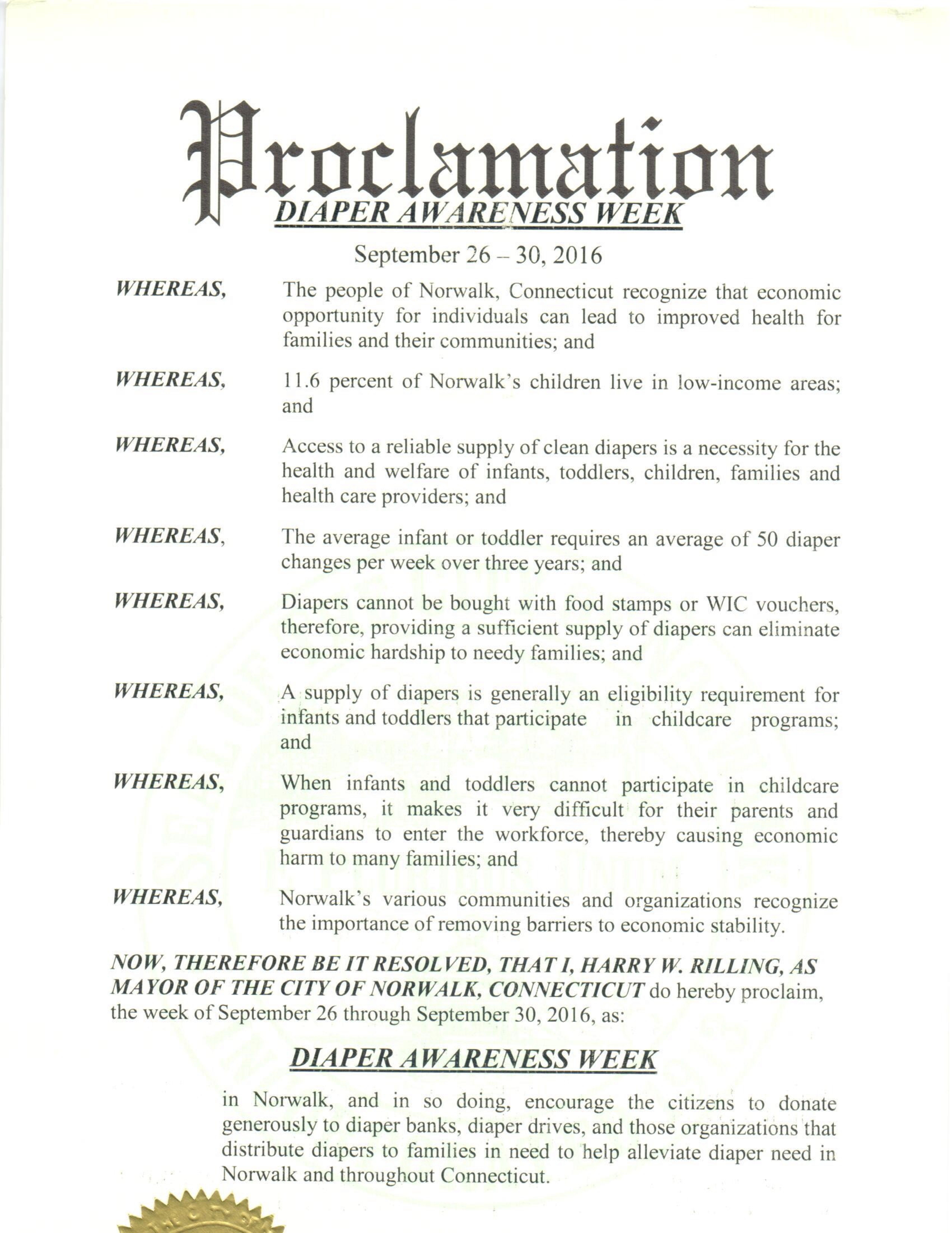 Norwalk, CT - Mayoral proclamation recognizing Diaper Need Awareness Week (Sept. 26 - Oct. 2, 2016) #DiaperNeed www.diaperneed.org