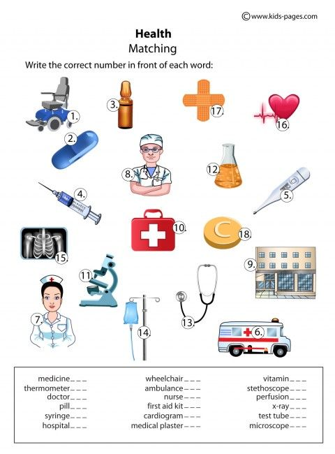 Health Matching worksheets http://www.kids-pages.com/folders ...