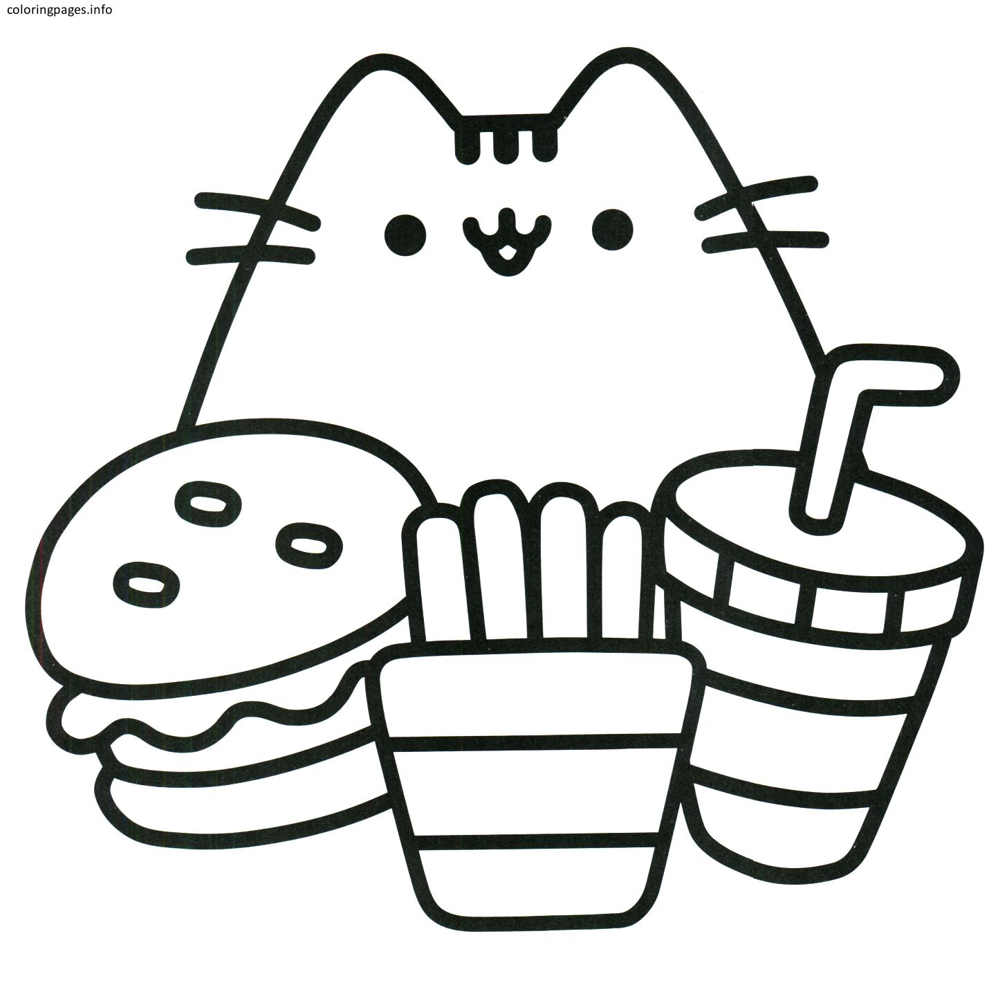 kawaii pusheen cat coloring pages pusheen
