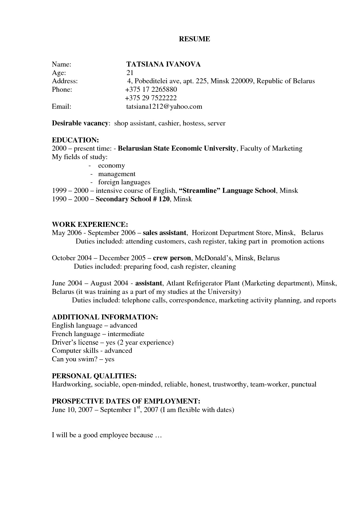 Resume Template No Work Experience Seven Mind Numbing