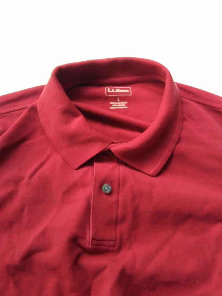 9728a5a60 L.L. Bean Men'sSize Large Red Long Sleeve 100% Cotton Polo Shirt #fashion