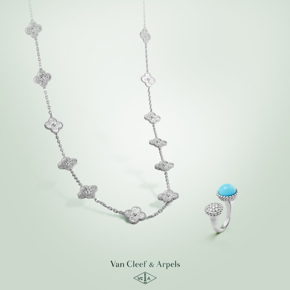 Turquoise and white gold compose a luminous duet in van cleef