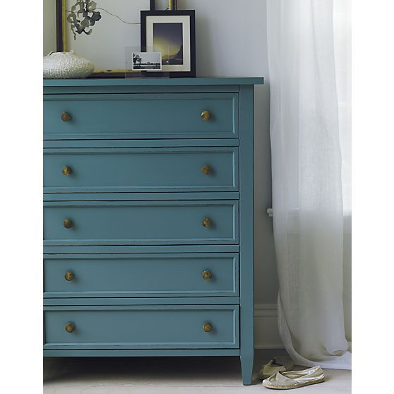 Harbor blue 5 drawer chest crate and barrel bedrooms - Crate barrel bedroom furniture ...