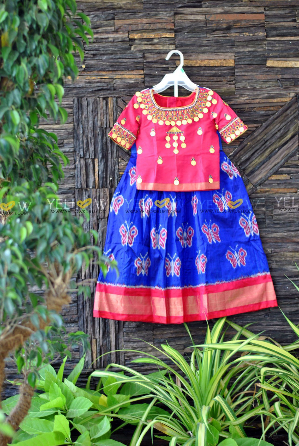 76e7c7308eb28c Ikkat lehenga for Kids with customised kasu work blouse  can be customised  for different age groups and colours . 02 June 2018