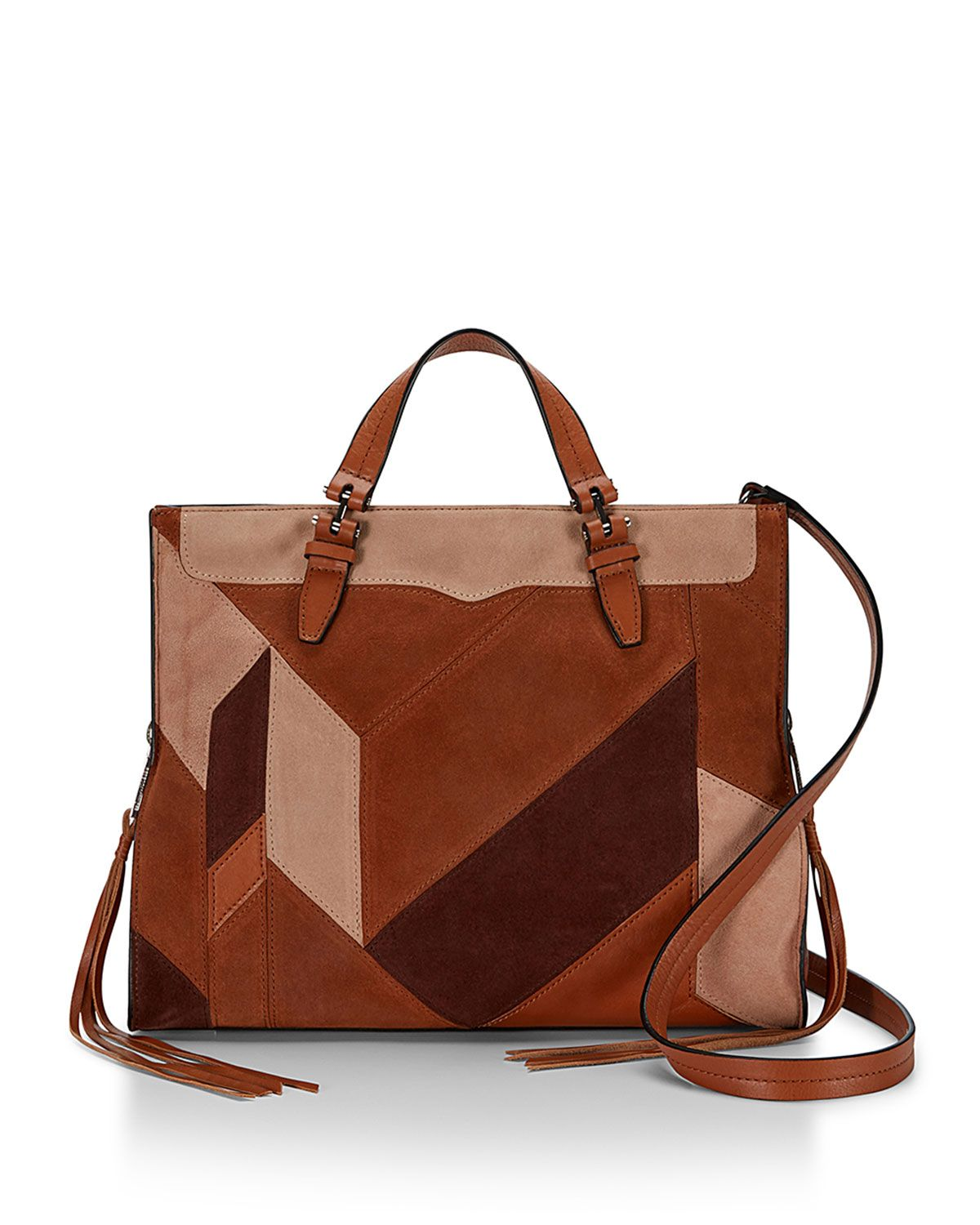 Blair Patchwork Suede Tote Bag, Almond Multi - Rebecca Minkoff