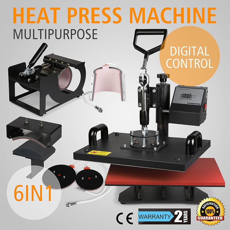 6in1 Heat Press Machine Multifunctional T Shirt Transfer Sublimation For Mug Cup Hat Cap 15 X12 Http Www Vevor Heat Press Machine Heat Press Press Machine